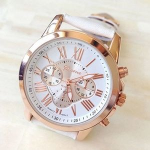 NWT! Quartz Watch w/ Leather Band in White & Gold